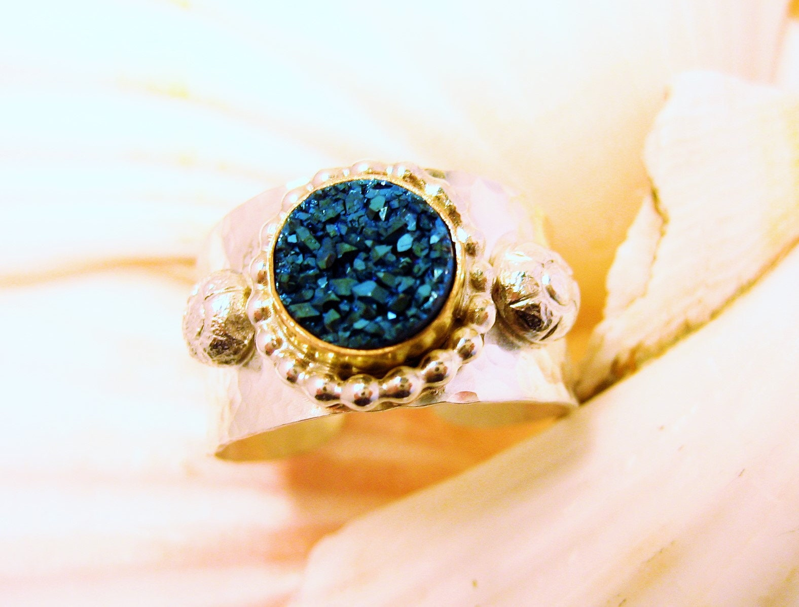 Blue druzy and two toned adjustable ring, hammered silver and gold adjustable ring, hammered silver regal ring, dark blue druzy ring
