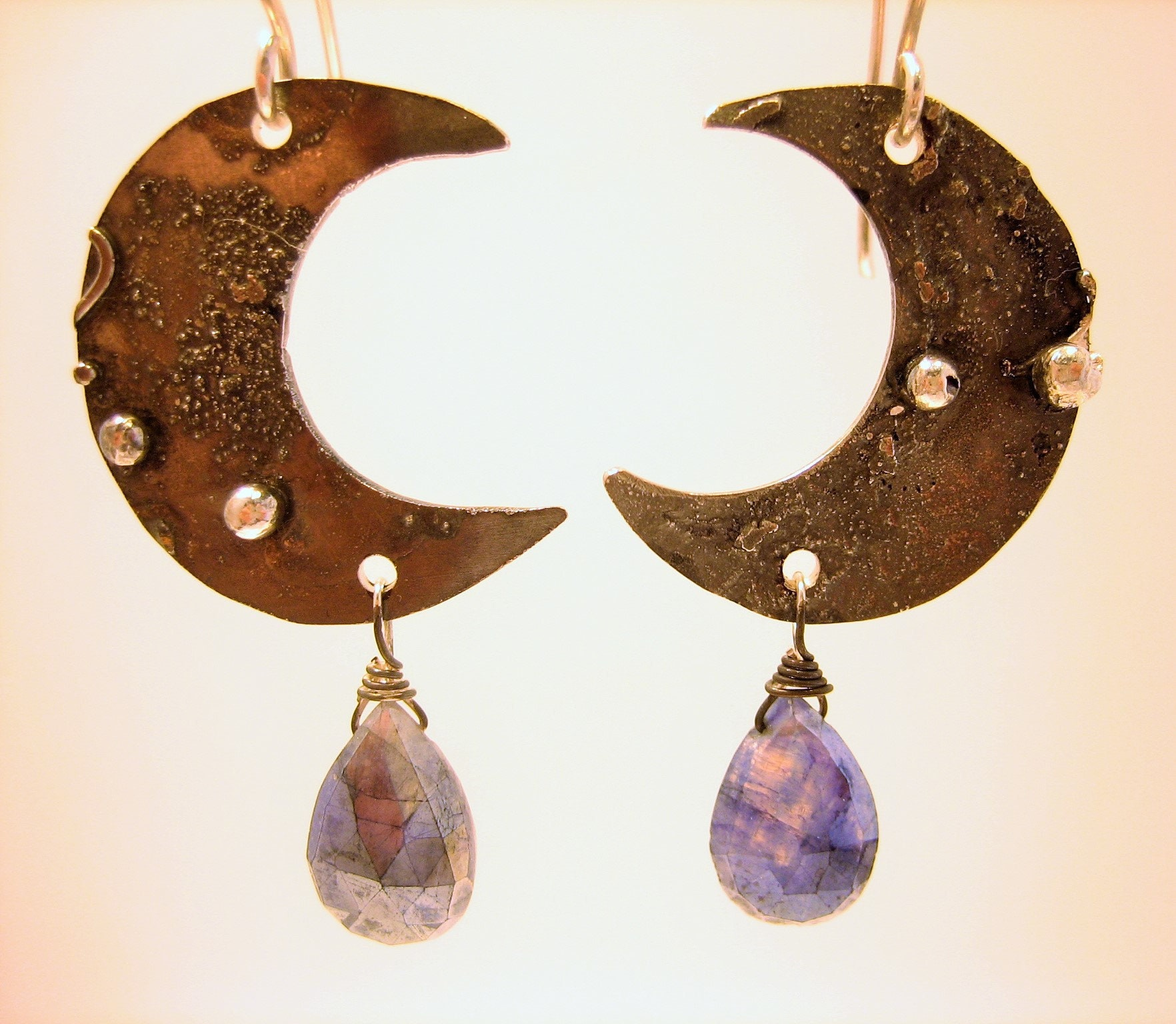Oxidized silver and rainbow moonstone earrings, texturized earrings, ruztic gold druzy and silver earrings