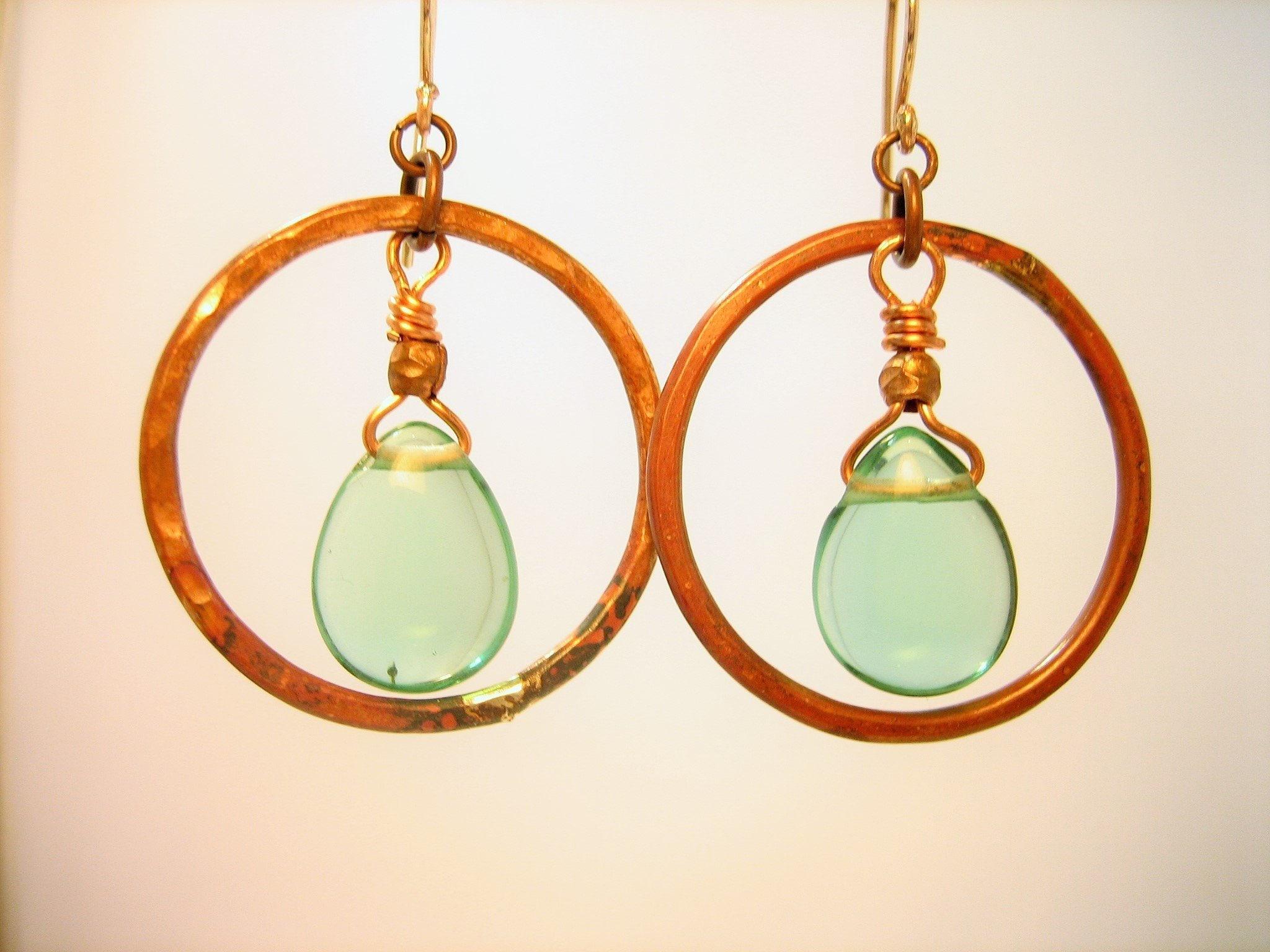 Gypsy hoop hammered copper earrings with aqua green quartz genuine gemstone-dangle open circle artisan handmade hammered copper earrings