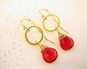 Ruby Red Earrings Genuine Gemstone