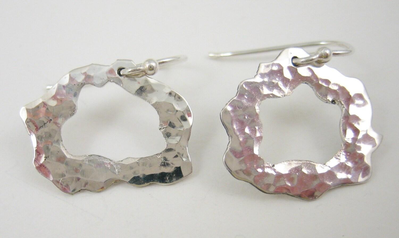 Hammered silver earrings, small open silver circle, artisan silver earrings, gift for her, hypoallergenic earrings, Argentium earrings