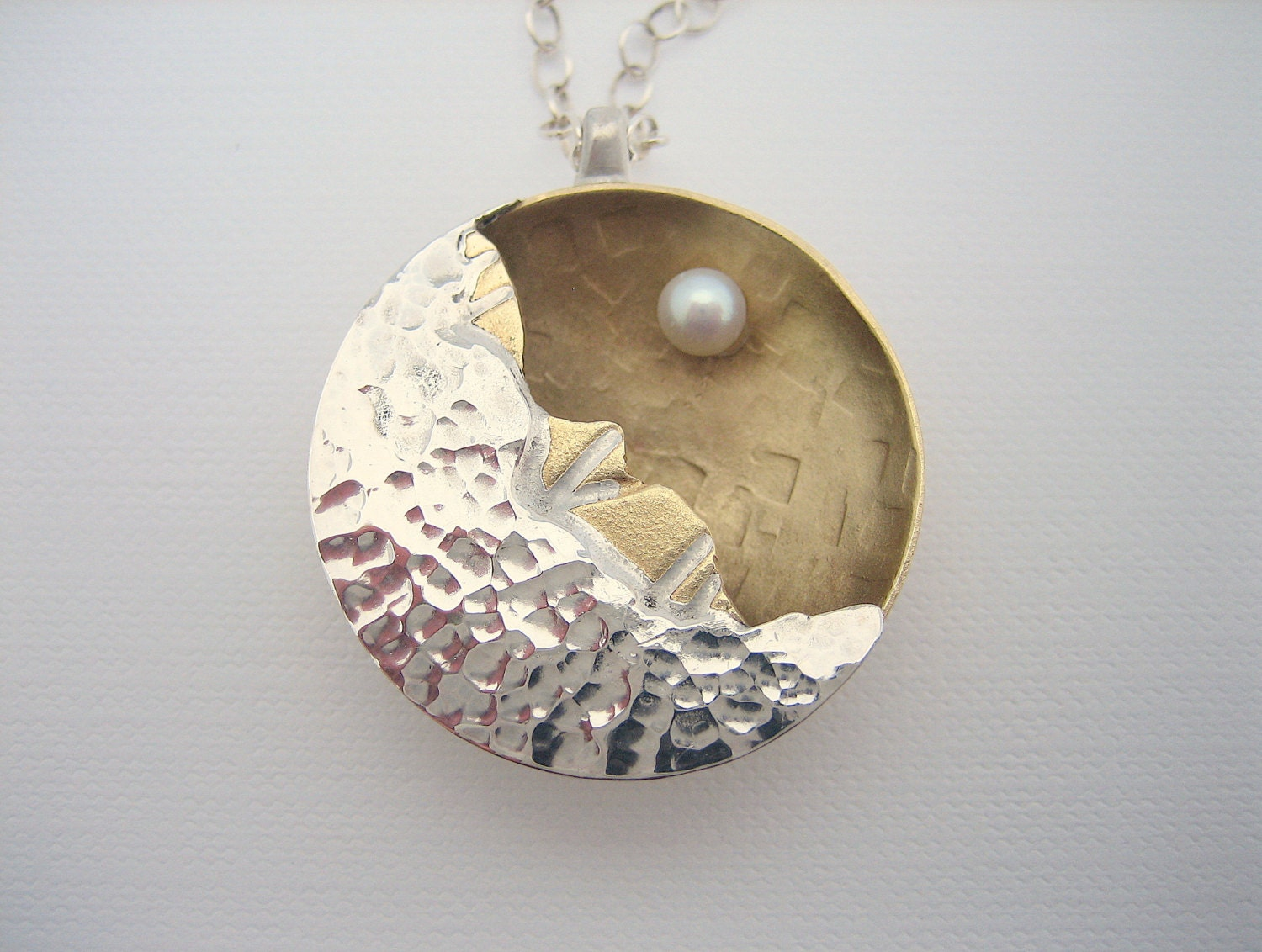 Gold and silver crescent moon pendant with pearl, golden celestial moon necklace, hammered moon necklace, lunar necklace