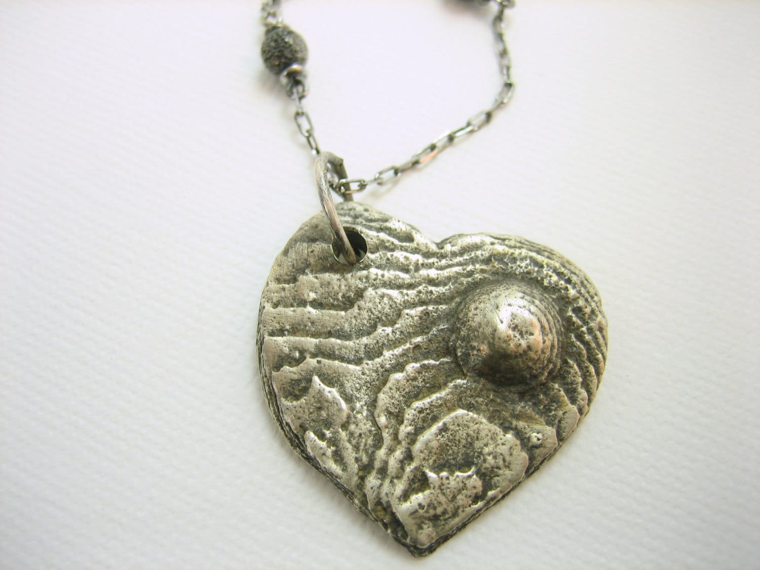 Fine silver heart pendant with sterling silver chain, oxidized silver handmade heart necklace, artisan silver heart necklace, handmade heart