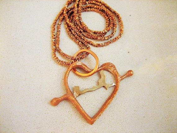 Bronze open heart pendant with copper chain, hammered bronze heart necklace, artisan made bronze, copper heart necklace with copper chain