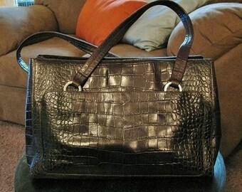 fd6128fc5c Vintage Ann Taylor Havana Brown Croco Leather Tote Purse