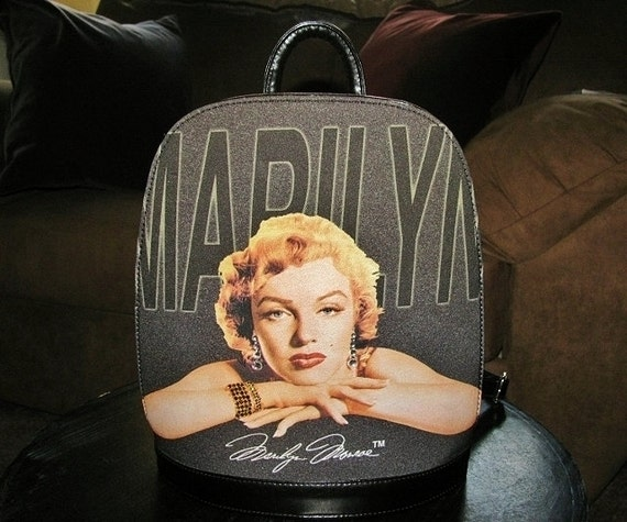 Vintage Marilyn Monroe Black Leather Backpack Purs