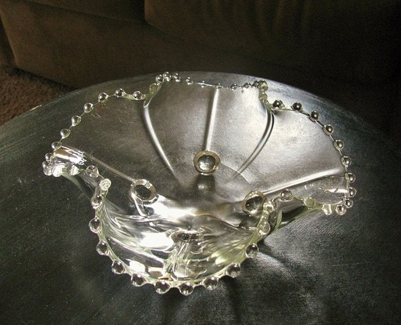 """Antique Imperial Glass Candlewick Fancy Square Edge Footed Bowl 9"""" by Etsy"""
