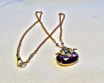 Purple Art Nouveau Victorian Boho Necklace Steampunk Mixed Metal Jewelry