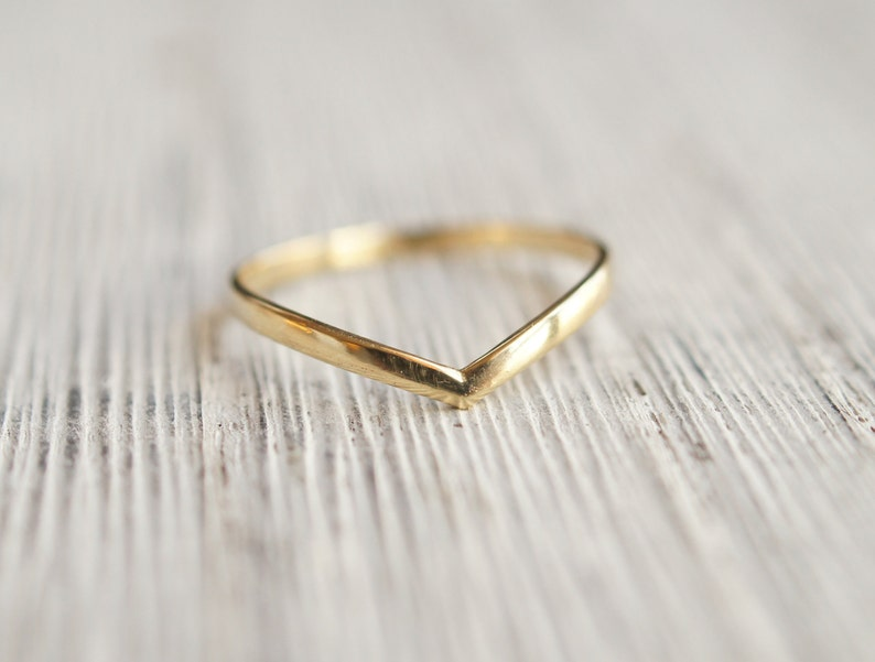 3acd6632d99c8 Contour V chevron ring in solid 10k gold, light and delicate, V shaped  simple design for wedding band or stacking ring in recycled gold