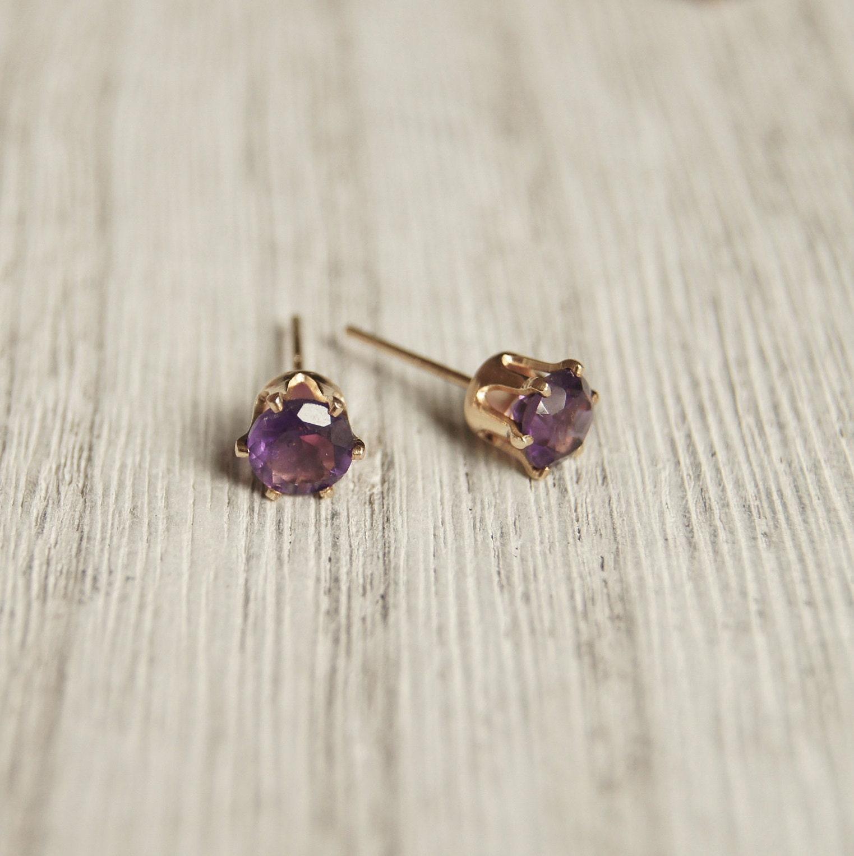 Genuine Purple Amethyst Gemstone Sterling Silver Stud Earrings Round February