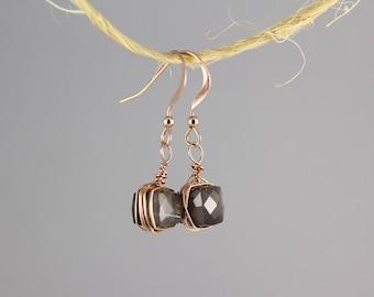 Moonstone Drop Earrings, Grey Moonstone Earrings Rose Gold, Tiny Rose Gold Earrings, Small Gemstone Earrings, Moonstone Dangle Earrings
