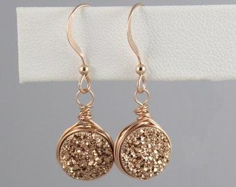 Rose Gold Druzy Earrings Dangle, Real Druzy Drop Earrings, Rose Gold Bridesmaid Earrings Gift, Rose Gold Earrings, Raw Gemstone Earrings