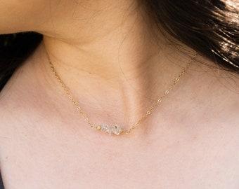 Herkimer Diamond Necklace, Gold Filled Choker Necklace, April Birthstone, Herkimer Diamond Pendant, Dainty Crystal Necklace, Rough Diamond