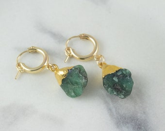 Raw Emerald Earrings, Green Emerald Drop Earrings, Green Stone Earrings, Gold Huggie Hoop Earrings, May Birthstone, Jewelry Gift for Her