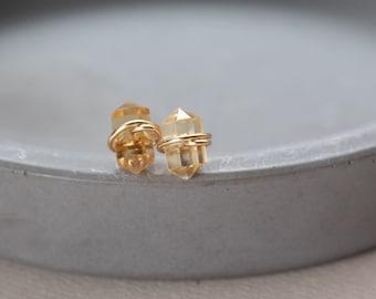 Dainty Citrine Stud Earrings, Genuine Citrine Earrings Studs Gold Filled November Birthstone Earrings, Citrine Gold Earrings Sterling Silver