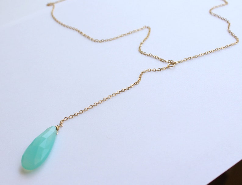 simple gold y necklace Blue Chalcedony Gold Lariat Necklace For Women gold drop necklace Gemstone Lariat necklace gold filled
