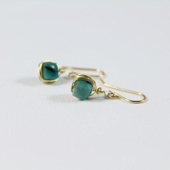 Chrysocolla Studs Earrings 10 or 12 mm-blue green earrings-studs earrings with gemstone-gemstone earrings