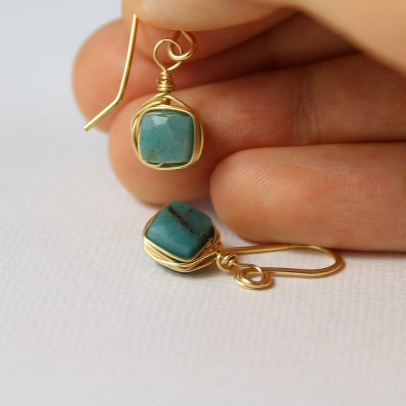 Green Chrysocolla Earrings Green Stone Earrings Small drop earrings gold filled Green Earrings Tiny Drop Earrings Wire Wrapped Earrings