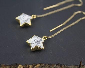 Star Threader Earrings, Star Gold Threader Earrings, White Star Dangle Earrings, Threader Chain Earrings, Gold Star Earrings, Gold Threaders