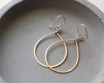 Gold Teardrop Hoop Earrings, Dangle Hoop Earrings, Gold Filled Hoop Earrings, Dainty Teardrop Earrings, Thin Tear Drop Hoop Earrings
