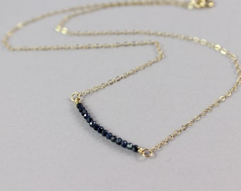 Sapphire Bar necklace, Natural Sapphire Necklace, September Birthstone Necklace, Dainty Gemstone Bar Necklace, Blue Sapphire Bead Necklace