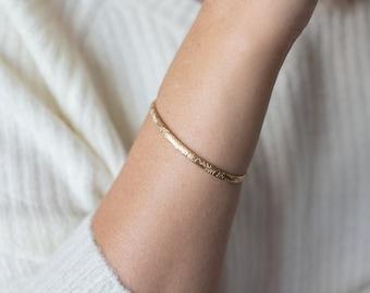 Gold Filled Cuff Bracelet, Plain Hammered Gold Bangle Bracelet, Open Cuff Bangle, Thin Gold Cuff Bracelet,  Gold Bangle, Hawaiian Bangle