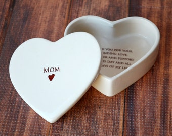 Mom Wedding Gift, Mother of the Bride Gift - Personalized Heart Box - Mom - Keepsake Box