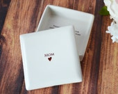 Mother of the Bride Gift or Mother of the Groom Gift - MOM Square Keepsake Box
