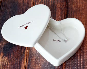 Wedding Gift, Girlfriend Gift, Wife Gift, Daughter Gift, Mom Gift  - I Love You More - SHIPS FAST - Heart Keepsake Box w/ Heart Necklace
