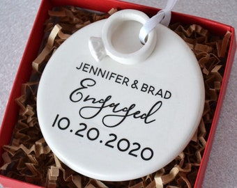 Engagement Ornament - Engagement Gift, Bridal Shower Gift, or Christmas Gift - With Names Date and Ring