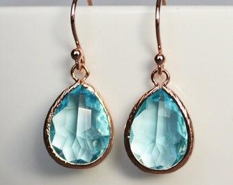 Aquamarine earrings, March Birthstone Gift, March Birthstone earrings, Bridesmaid earrings,  March Birthday Gift for Her, Tear Drop Earrings