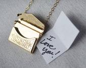 Envelope Locket Necklace, Letter Locket, Gift for Her, Gift for Mom, Mom Necklace, Gold Locket