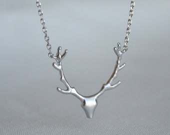 Silver Antler Necklace, Deer Antler Necklace, Deer Head Necklace, Gift for Her, Friend Gift, Best Friend Gift, Layering Necklace -Gift Boxed