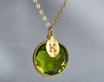 August Birthstone Necklace, Peridot Necklace, 18K Gold or Sterling Silver, Wife Gift, Personalized Round Necklace, Bridesmaid, Mom Gift
