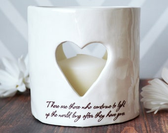 Sympathy Gift, Sympathy Heart Candle, Sympathy Votive - SHIPS FAST - There are those who continue to light up the world long after ...