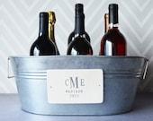 Wedding Gift - Personalized Wine Bucket, Champagne Bucket, Beverage Tub with Monogram