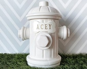 Large Personalized Fire Hydrant Dog Treat Jar, Dog Gift, Puppy Gift, Dog Lover Gift, Treat Jar with Bone Tile and Name