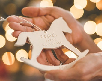 Rocking Horse - Personalized Baby's First Christmas Ornament, Gift Boxed