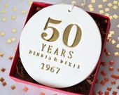 50th Anniversary Gift, Golden Anniversary Gift, 50th Anniversary Ornament, Anniversary Gift, 50th Wedding Anniversary - With Names & Date