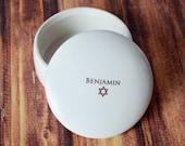 Personalized Bar Mitzvah Gift, Bat Mitzvah Gift, Jewish Gift, Jewish Present, Mazel Tov, Hebrew Gift  - Round Keepsake Box
