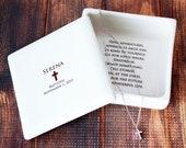 Baptism Gift,  Christening Gift, Confirmation Gift, First Communion Gift, Godchild Gift -Square Keepsake Box w/ Cross Necklace
