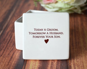 Mother of the Groom Gift, Mom Gift From Groom - Personalized Deep Square Keepsake Box - Today a Groom, Tomorrow a Husband, Forever Your Son
