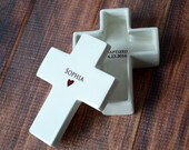 Personalized Baptism Gift, First Communion Gift or Confirmation Gift - Cross Keepsake Box