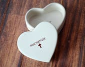Personalized Baptism Gift, First Communion Gift or Confirmation Gift - Heart Keepsake Box