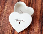 Personalized Baptism Gift, First Communion Gift or Confirmation Gift - Heart Keepsake Box - With Script Font