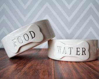 Dog Bowl - Food or Water Dog Bowls -  1 Small/Medium Size  - Ceramic