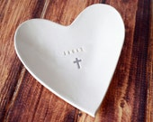Baptism Gift, Baptismal Gift - Personalized Small Heart Bowl with Name and Cross