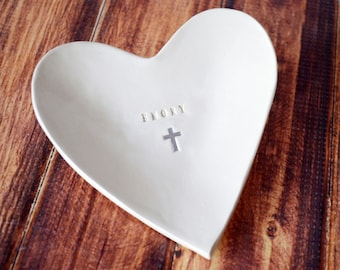 Baptism Gift, Baptismal Gift - Personalized Small Heart Bowl with Name and Cross - with Gift Box