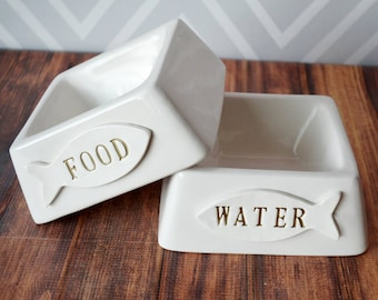 Cat Bowl - Personalized Square Food or Water Bowl - Ceramic