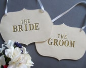 Large Gold The Bride & The Groom Wedding Sign Set to Hang on Chair and Use as Photo Prop